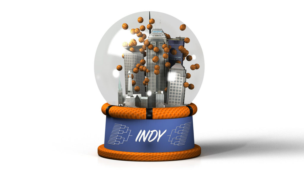 3D illustration of a snowglobe that contains a miniature downtown Indianapolis with tiny basketballs instead of snow